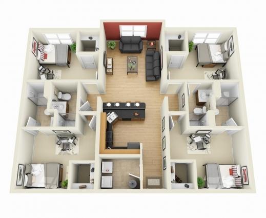 Gorgeous 50 Four 4 Bedroom Apartmenthouse Plans Bedroom Apartment 4 4 Bedroom House Plan 3D Images