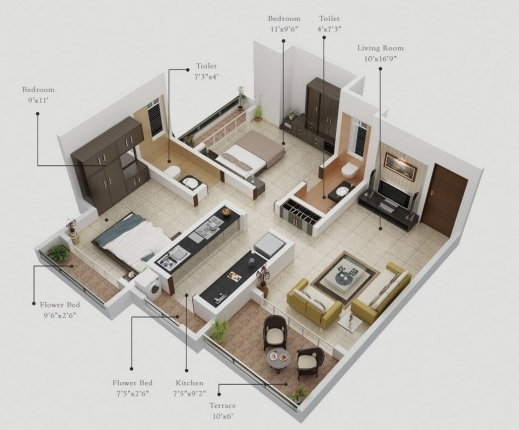 Gorgeous 50 Two 2 Bedroom Apartmenthouse Plans Bedroom Floor Plans Small House Design And One Floor Plan Spaces Image