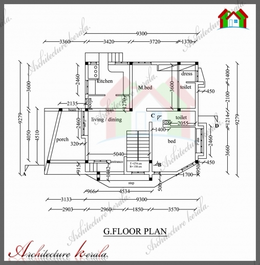 Incredible 1800 Sq Ft House Plan With Detail Dimensions Architecture Kerala Architecture Home Plan With Dimansion Pictures