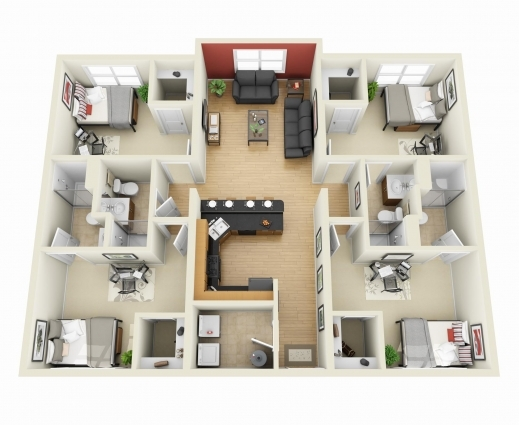 Incredible 50 Four 4 Bedroom Apartmenthouse Plans House Plans Bedroom 3d One Bedroom House Plans Photo