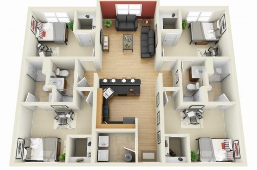 Incredible 50 Four 4 Bedroom Apartmenthouse Plans House Plans Bedroom 4 Room House Planning 3D Pic