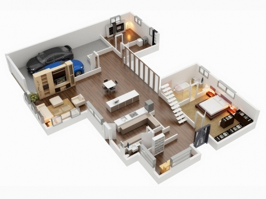 Incredible Gorgeous 3d Floor Plans Home Design 4 Bedroom House 43 102 Planskill 4 Room House Planning 3D Pictures