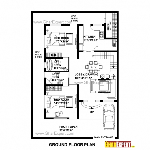 Incredible House Plan For 48 Feet 58 Feet Plot Plot Size 309 Square Yards Small House Plan With Size Photo