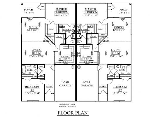 Incredible One Level Duplex Craftsman Style Floor Plans Duplex Plan 1261 B Duplex Floor Plans Photo
