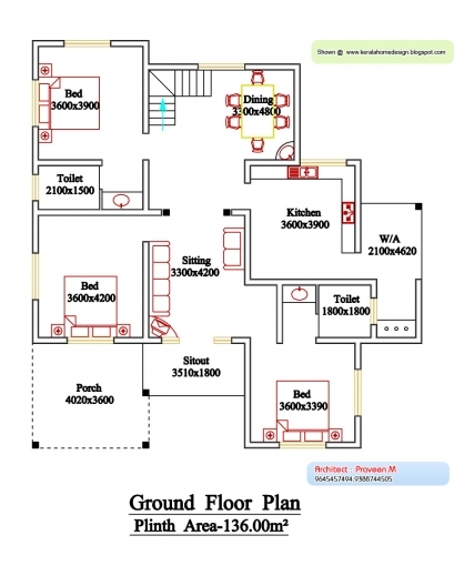 Incredible Three Bedroom House Plan In Kerala Plantation At Home Country Kerala Home Designs Three Bedroom Plans Pic