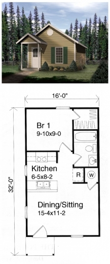 Incredible Tiny Houseplan 49132 Has 448 Sq Ft Of Living Space And Measures Plan For A House That Have One Dining Room And One Bedroom Pictures