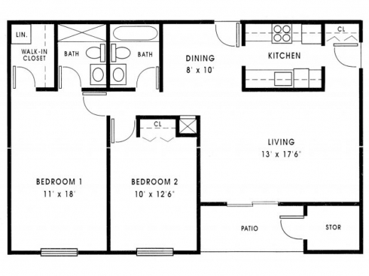 Stylish house plans 1000 sq ft 2 bedroom 1 bath home floor for 1000 sq ft house plans 3 bedroom