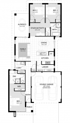 Inspiring 3 Bedroom House Plans Home Designs Celebration Homes 3 Bedroom Housing Plans Images