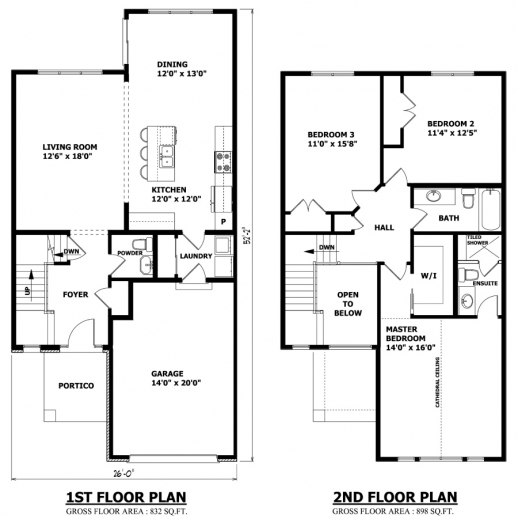 Inspiring High Quality Simple 2 Story House Plans 3 Two Story House Floor 3 Bedroom Floor House Plan With All Dimensions Picture