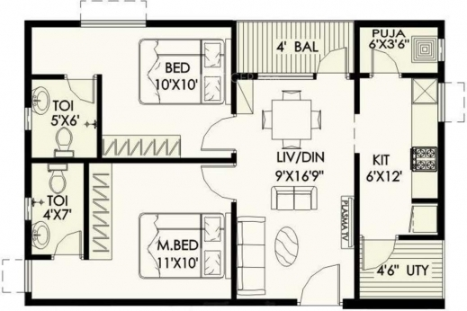 Inspiring Lily Jasmine Floor Plan Bhk Pooja Room House Plans 543 House Plan With Pooja Room Image