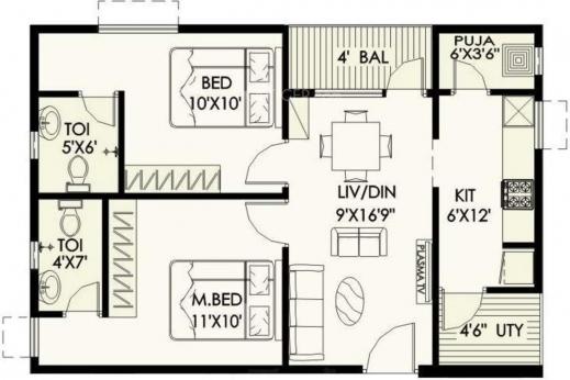 Inspiring Lily Jasmine Floor Plan Bhk Pooja Room House Plans 543 House Plan With Pooja Room Image