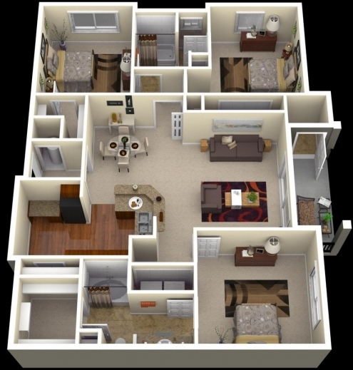 Inspiring One Bedroom House Plans Httpwwwcrescentcameronvillage 4 Bedroom House Plan 3D Image