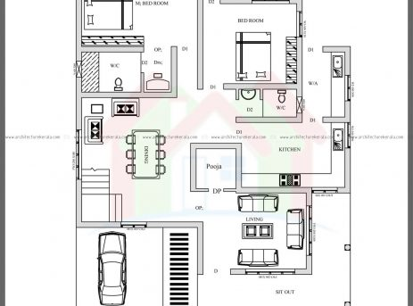Marvelous 4 Bed House Plan With Pooja Room Architecture Kerala House Plan With Pooja Room Pic
