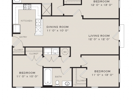 Marvelous Three Bedroom Floor Plans The Reserve At Johns Creek Walk Three Bedroom Plans Picture