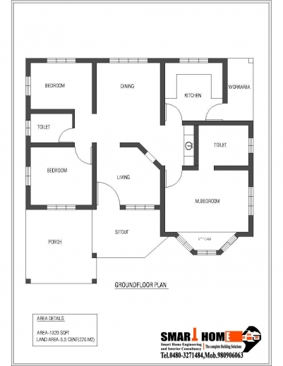 Outstanding 1320 Sqft Kerala Style 3 Bedroom House Plan From Smart Home Gf 3 Bedroom House Floor Plans Single Story Images