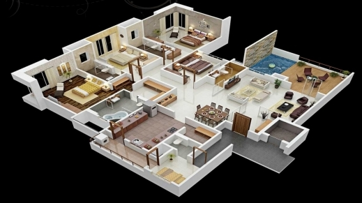Outstanding 3 Bedroom House Plans 3d Design With Bathroom Home Free 4 De 4 Room House Planning 3D Images