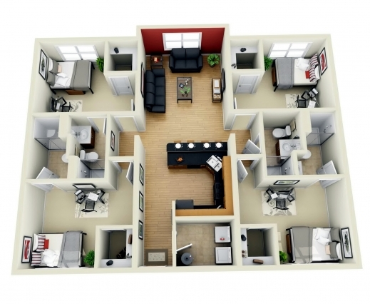 Outstanding 3 Bedroom House Plans 3d Design With Bathroom Home Free 4 De 4 Room House Planning 3D Pic
