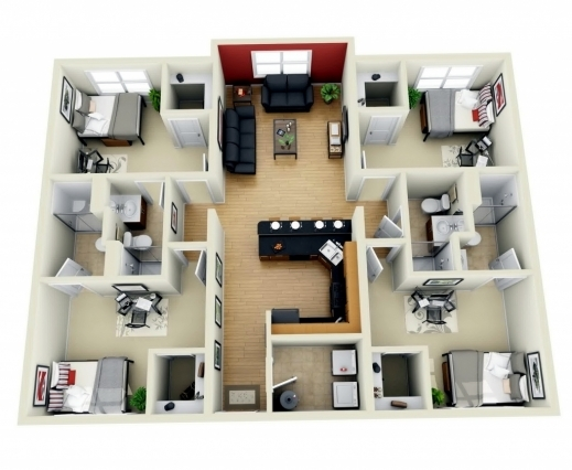 Outstanding Modern 4 Bedroom House Design 3d Plans Amazing 4 Bedroom Home 4 Bedroom House Plan 3D Image