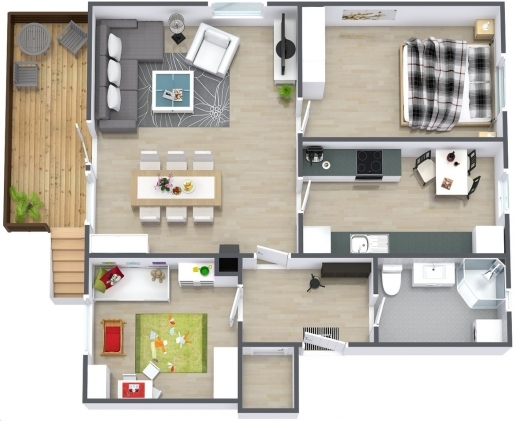 Outstanding One Bedroom House Plans 3d And 2 Bedroom House Home And Interior 3d One Bedroom House Plans Picture