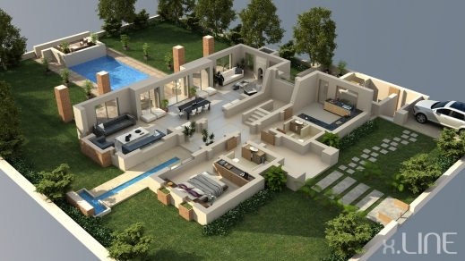 Stunning Rendering Floor Plan 3d Xline 3d Visualization House 3d Plans Of House Images
