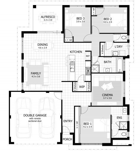 Stylish 3 Bedroom House Plans Home Designs Celebration Homes Three Bedrooms House Plan Pics