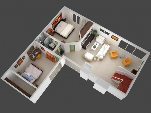 Stylish 3d Mansion Floor Plans 3d Plan View Render Of Unit 5 Jpg Planos 3d Plans Of House Pic