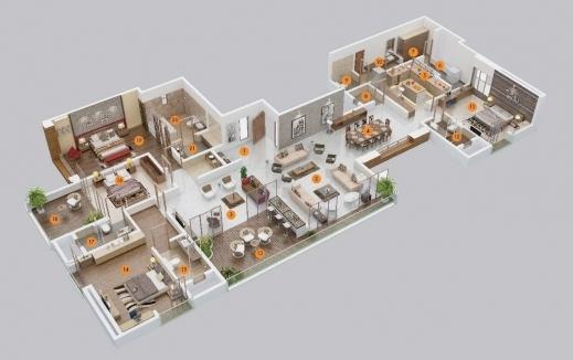 Stylish Delightful 4 Bedroom Flat House Plans 2 4 Bedroom House Floor 4 Bedroom House Plan 3D Picture