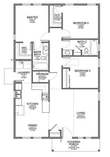 Stylish Floor Plan For A Small House 1150 Sf With 3 Bedrooms And 2