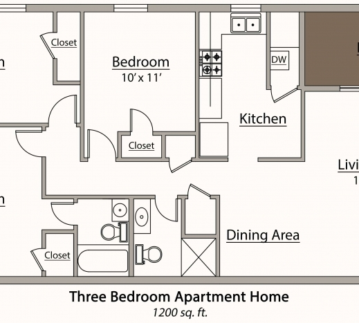 Stylish Three Bedroom Apartment Floor Plans Three Bedroom Plans Pic