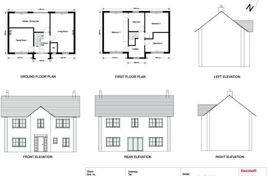 D Elevation With Plan : House plan and elevation drawings floor plans
