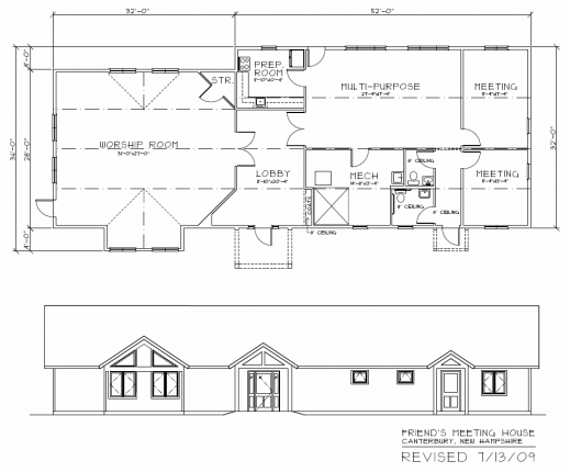 Fascinating Meetinghouse Plans Concord Friends Meeting Quakers Elevation Floor Plan Photo