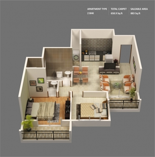 Marvelous 50 3d Floor Plans Lay Out Designs For 2 Bedroom House Or Apartment House Plans 3d With 2 Bedrooms Images