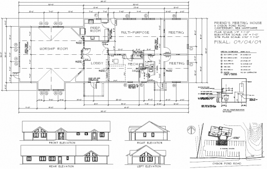 Stunning Meetinghouse Plans Concord Friends Meeting Quakers Elevation Floor Plan Pics