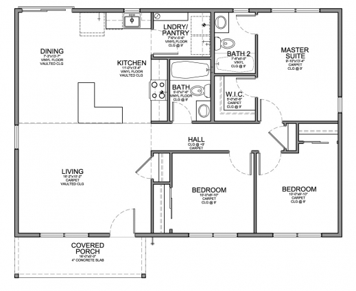 Wonderful Floor Plan For Affordable 1100 Sf House With 3 Bedrooms And 2 Www House Plan 7 Room Com Image