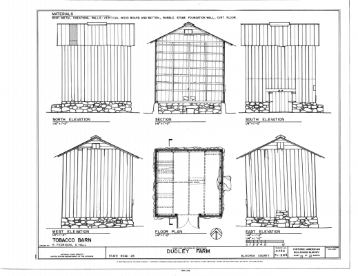 Fascinating Filetobacco Barn Elevations Floor Plan And Section Dudley Farmhouse Barn Plans Images