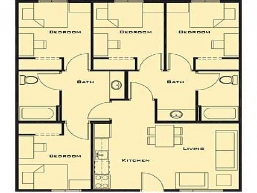 Stunning Simple House Plans Bedrooms With Inspiration Gallery Simple House Plan With 4 Bedrooms Photo