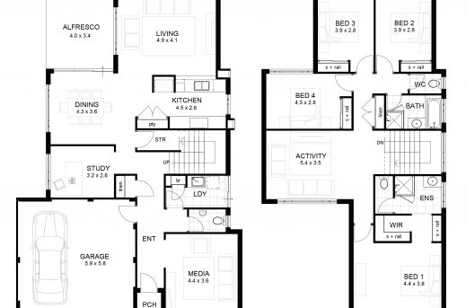 Stylish Double Storey 4 Bedroom House Designs Perth Homes Two Storey Floor Plan Sample Photo