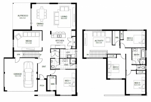 Stylish Two Story House Floor Plans With Dimension Ideas Luxury Sample Two Storey Floor Plan Sample Pics
